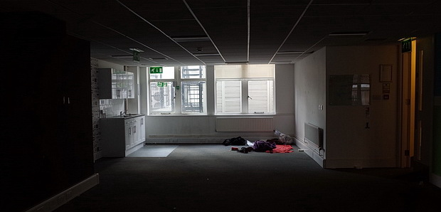 Squatters take over Soho offices to create a hub for London's homeless - photos, April 2015
