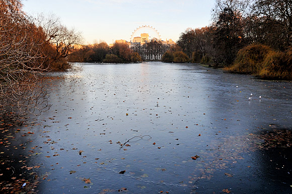 Frozen lake in St James's Park, London