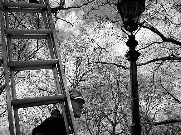 Gas lamp man, Green Park, London