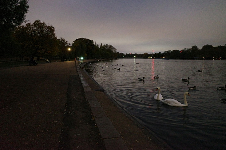 Gas lamps and late night views of Hyde Park, London