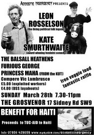 Benefit tonight: Acoustic Insurgency benefit for TUC-AID Haiti appeal