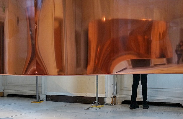 Hannah Perry: Gush - subwoofers and shimmering copper, Somerset House, London