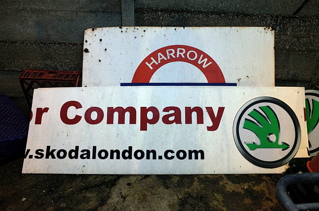 The hand-painted signs of Harrow Borough FC, north London, Sat 22nd November 2014