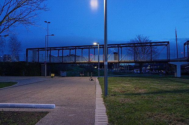 A walk around a deserted tech park at night: Here East, Stratford, Feb 2019