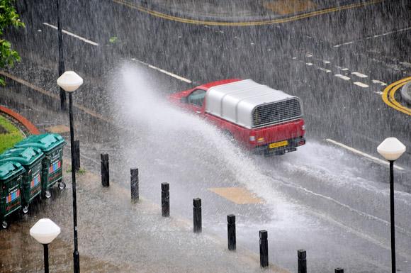 Heavy rain over Brixton town