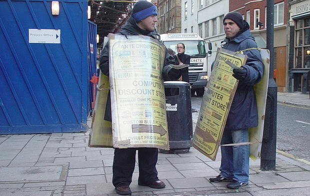 London history - human billboards on the streets 15 years ago - April 2004