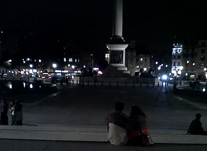 Trafalgar Square, midnight.