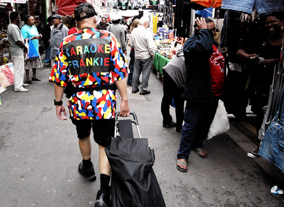 Pic of the day: Karaoke Frankie on the move, Brixton Market