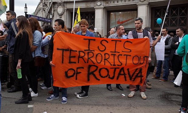 Kurdish activists protest against ISIS in Oxford Circus, London, Saturday 27th Sept 2014