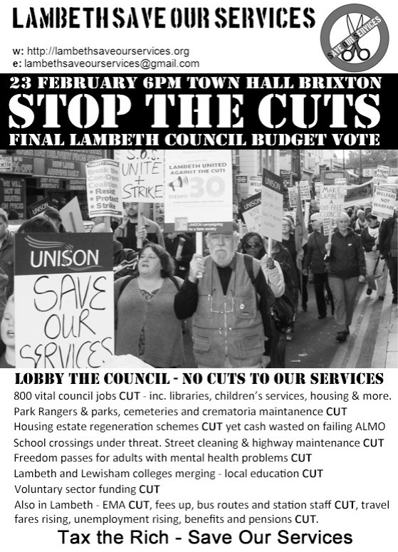 Lambeth Council cuts budget vote - demo, 6pm 23rd Feb