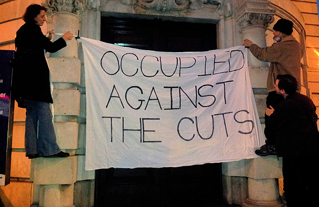 Against the Cuts! Protest outside Lambeth Town Hall, Brixton