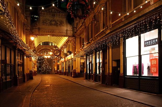 Christmas lights at London's Leadenhall Market, December 2014