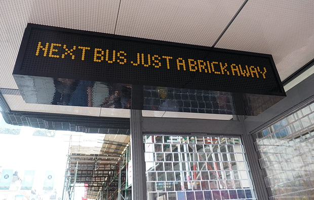 Lego Bus Stop outside Hamley's toy shop, Regent Street, London
