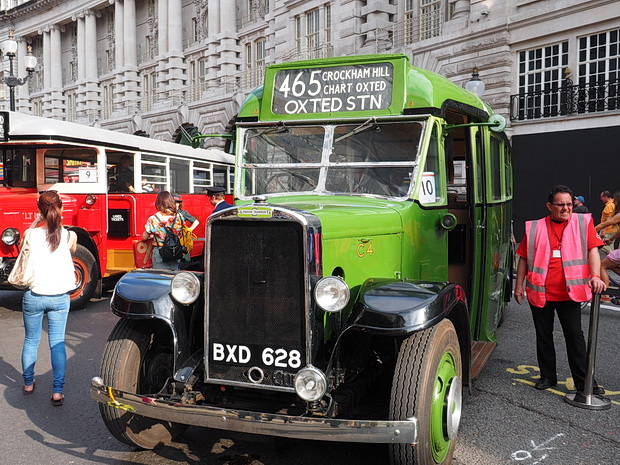 Bus Cavalcade in Regent Street, London with vintage buses, Sunday 22nd June 2014