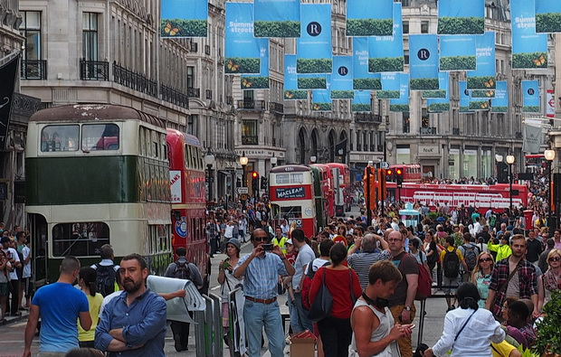 Bus Cavalcade in Regent Street moves on towards Oxford Circus, Sunday 22nd June 2014
