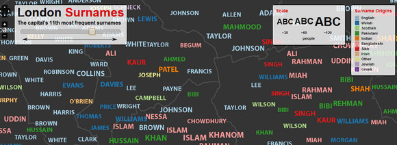London's most common surnames listed by area and origin