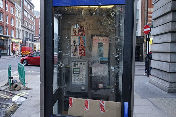 The London phonebox that's full of cardboard - in photos