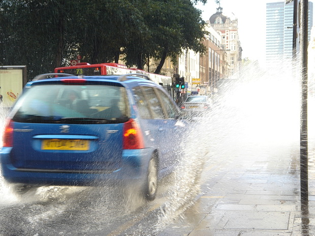 London 15 Years Ago: Rain, a Banksy in the street, Le Tigre and Centre Point, October 2004