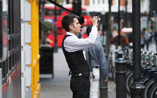 A series of snapshots from the streets of Soho, London, April 2014