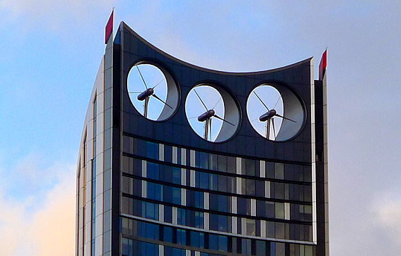 The rarely spinning turbines of the Strata Tower, south London