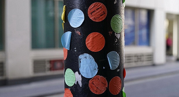 Stickers., photo galleries, concrete and books: London street views, May 2016