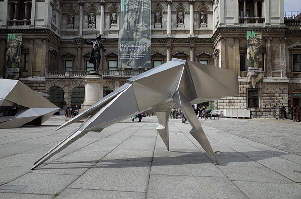 Lynn Chadwick Steel Beasts sculptures at the Royal Academy courtyard, Piccadilly, London, May 2014