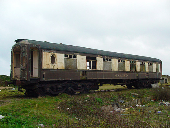 Desolate abandoned Pullman coaches, Marazion, Cornwall