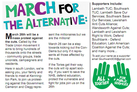March 26th: March Against The Cuts, Kennington Park