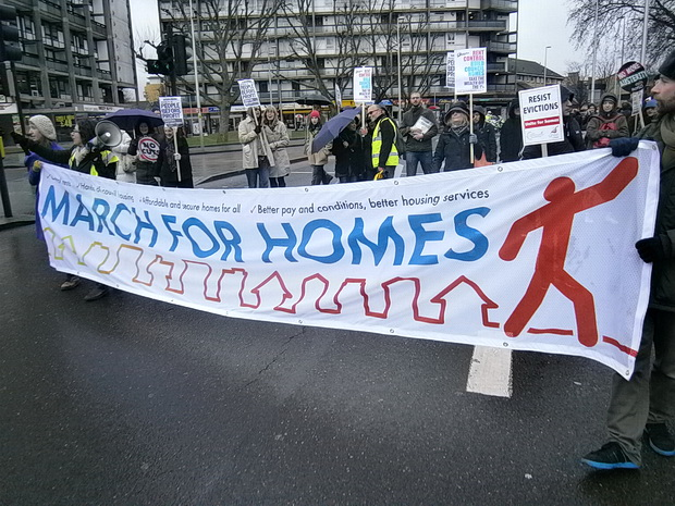 March For Homes protest over the London housing crisis, central London, 31st, January 2015