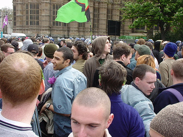 Photo archives: Mayday protest, Parliament Square, 1st May 2000