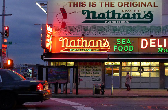 Hot dogs at Nathan's Delicatessen, Coney Island, New York, USA