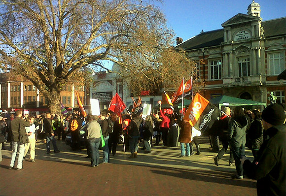 Strike day in Lambeth - Brixton Windrush Square scenes
