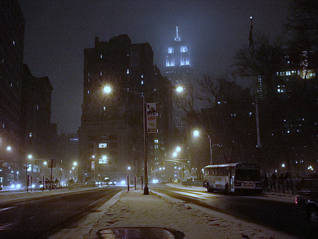 New York 20 Years Ago: Street scenes, Chelsea Hotel, Twin Towers, neon, snow and rain, January 2000