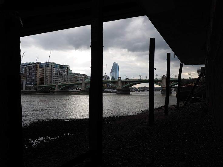 The north bank of the Thames at low tide: bridges, chains, nets and some mudlarking