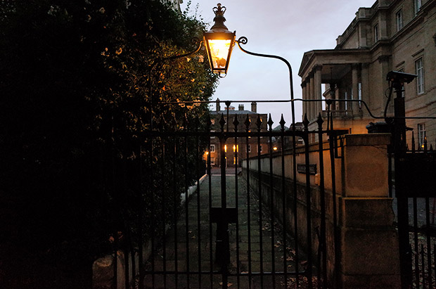 An autumnal park walk at dusk - Green Park and St James's in central London. November 2014