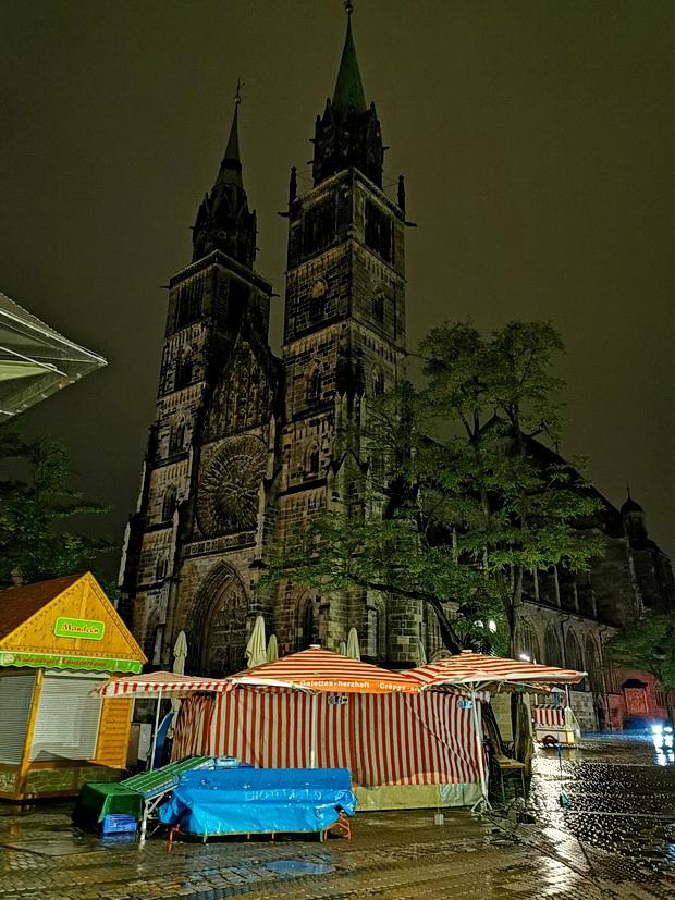 Night rain in Nuremberg, Bavaria, Germany, autumn 2019