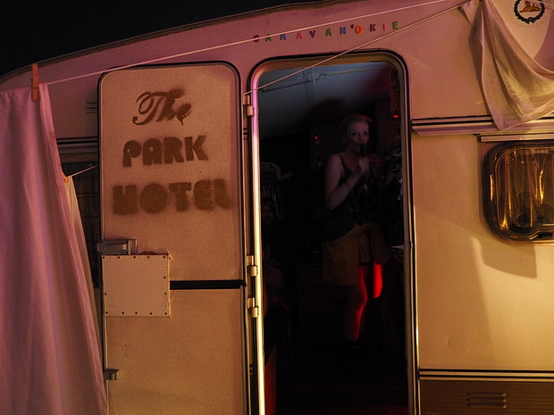 A night at the Park Hotel in Boomtown Fair, Winchester, England, August 2014