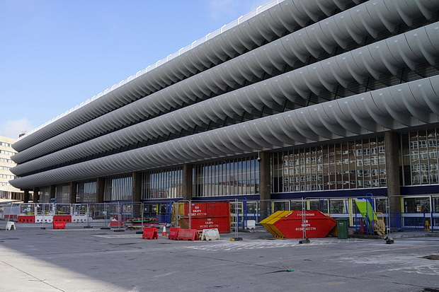 In photos: Preston, Lancashire - bus station. closed shops and architecture,
