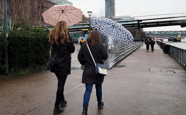 A rainy day by the River Thames and Bermondsey, London, January 2015
