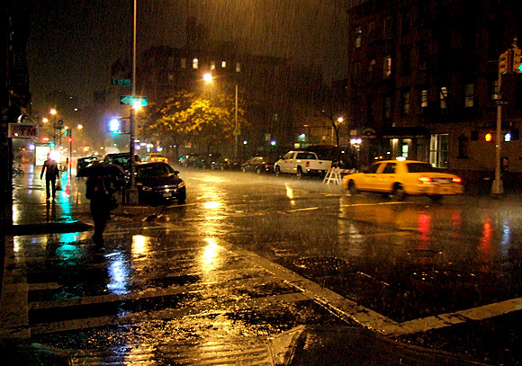 A rainy night in Manhattan, New York