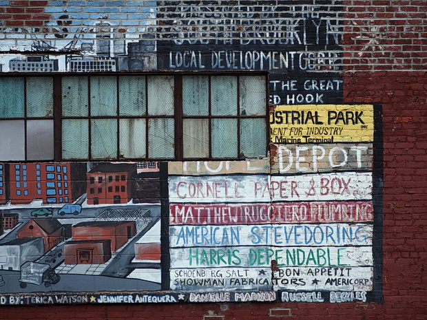 Photos of street scenes, docks and graffiti of Red Hook, Brooklyn, USA