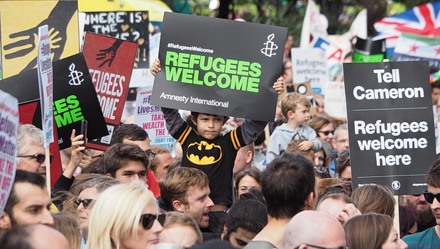 Banners, slogans and faces in the crowd: Solidarity with Refugees March, Saturday 12thSeptember 2015