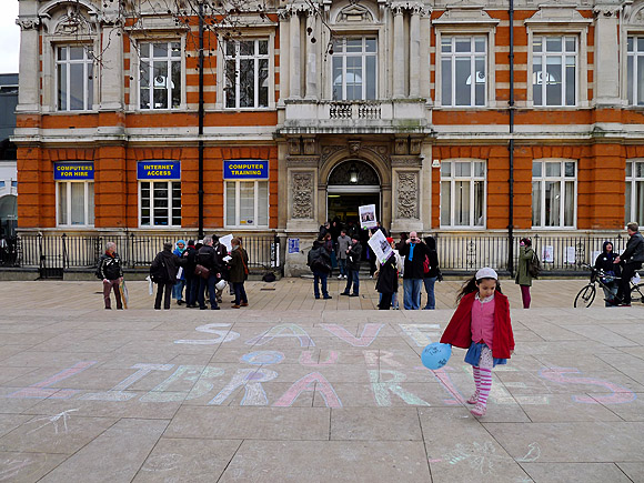 Save our libraries protest outside Brixton Library, Feb 5th 2011