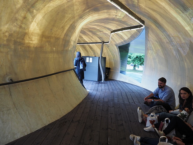 The Serpentine Pavilion - a futuristic doughnut-shaped broken egg lands in London, Hyde Park, London, June 2014