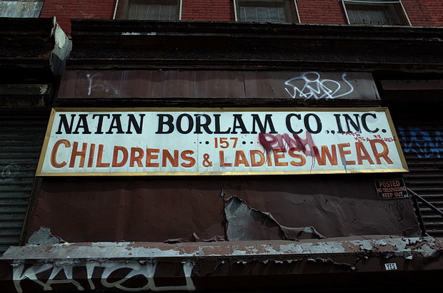 Shop signs and street signs in Brooklyn and downtown Manhattan, New York