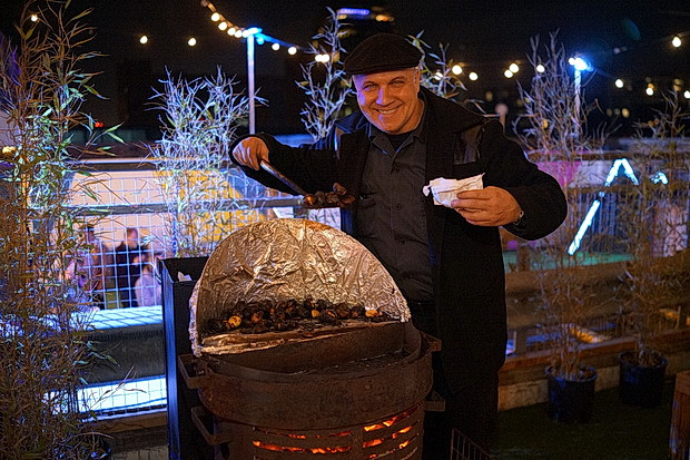 Rooftop skating, booze, fondues and Gus's wonderful roasted chestnuts at Skylight ,. Tobacco Dock, Wapping, London, November 2017