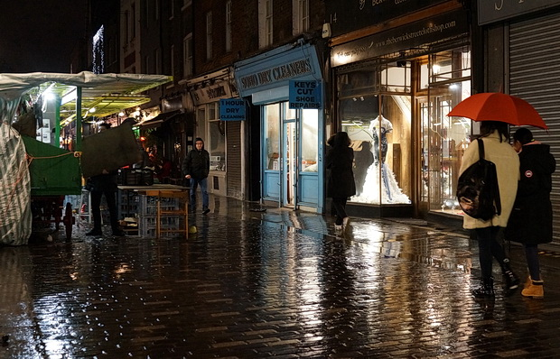 Christmas rain - Soho lights reflected in the pavements, December 2017