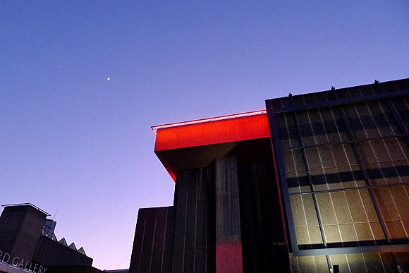 Southbank at dusk: Royal Festival Hall, Hayward Gallery and QE Hall