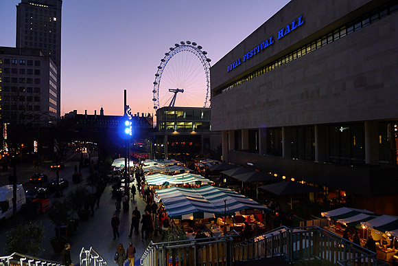 Southbank at dusk: Royal Festival Hall, Hayward Gallery and QE Hall