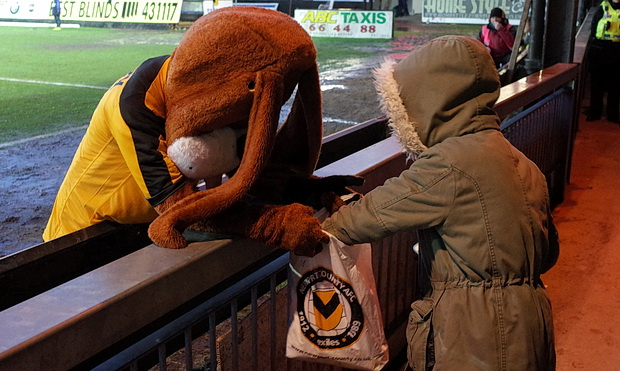 Spytty the Dog, the strange emo paedobear/Deputy Dawg hybrid club mascot of Newport County FC